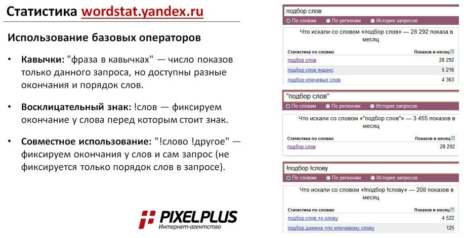 Базовые операторы статистики ВордСтат