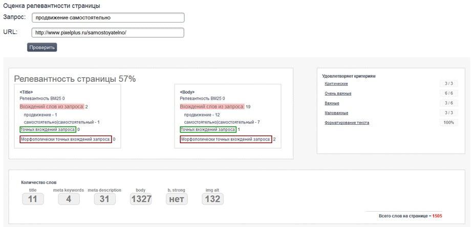 Анализ оптимизации страницы по MegaIndex